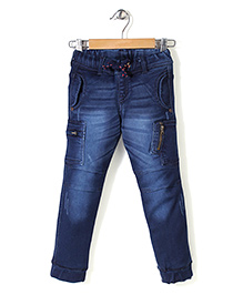 Button Noses Elasticated Waist Denim Jeans - Dark Blue