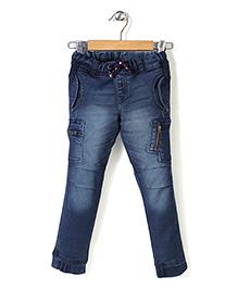 Button Noses Elasticated Waist Denim Jeans - Medium Blue