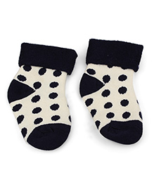 Cute Walk by Babyhug Turn-Over Polka Dot Socks - Black & Off White