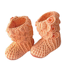 My World Of Crochet By Neelam Crocodile Booties - Peach