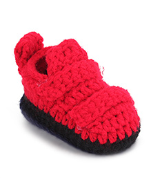 Cute Walk Shoe Style Booties - Red Black