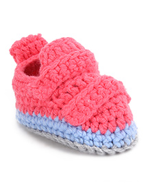 Cute Walk Shoe Style Booties - Pink Blue