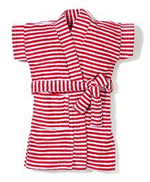 Babyhug Half Sleeves Stripe Bathrobe - Red