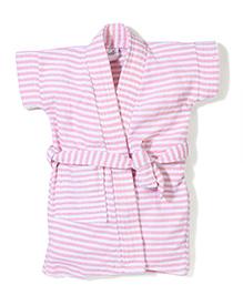 Babyhug Half Sleeves Stripe Bathrobe - Pink