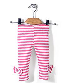 Babyhug Horizontal Striped Leggings - Dark Pink