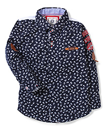 Chase Flower Print Shirt - Black