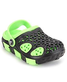 Cute Walk Clogs With Back Strap - Green Black