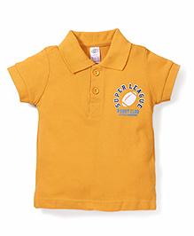 Zero Half Sleeves Polo T-Shirt Logo Print - Yellow
