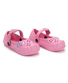 Cute Walk Clogs Floral Motifs - Light Pink