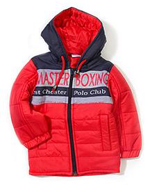 Babyhug Dual Color Hooded Jacket - Red & Navy