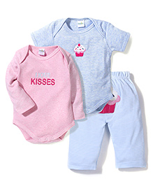 Babyhug Onesies With Leggings Embroidery Work Set Of 3 - Pink Blue