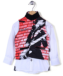Finger Chips Shirt With Waist Coat Party Wear - White & Red