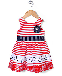 Babyhug Sleeveless Striped Frock Floral Applique - Red