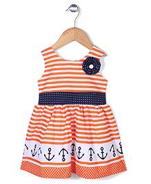 Babyhug Sleeveless Striped Frock Floral Applique - Orange