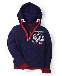 Little Kangaroos 89 Print Hooded Sweatshirt - Navy Blue