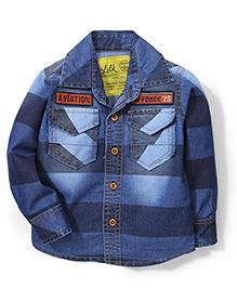 Little Kangaroos Full Sleeves Denim Shirt Aviation Embroidery - Dark Blue