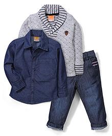 Little Kangaroos Sweater Shirt & Jeans Set - Grey & Dark Blue