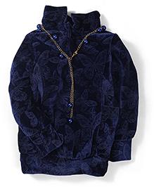 Little Kangaroos High Neck Butterfly Design Top - Navy Blue