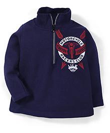 Little Kangaroo Motorcycle Racer Print Sweat T-Shirt - Navy Blue