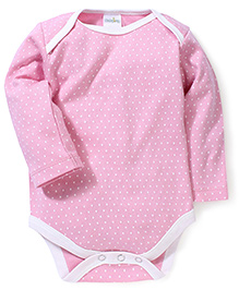 Babyhug Full Sleeves Dotted Onesies Bodysuit - Pink