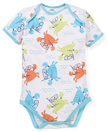 Babyhug Crab Printed Onesies Bodysuit With Contrast Piping - White & Turquoise