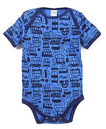 Babyhug Short Sleeves Onesie Vehicle Print - Blue
