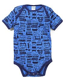 Babyhug Short Sleeves Onesie Vehicle Print - Blue