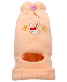 Babyhug Monkey Cap Rabbit Embroidery - Light Orange