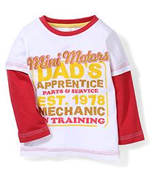 Babyhug Doctor Sleeves T-Shirt Text Print - White