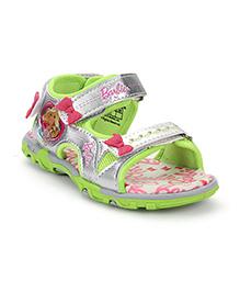 Barbie Sandals Dual Velcro Straps Bow Applique - Green