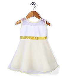 Babyhug Striped Embroidered Party Dress - White & Yellow