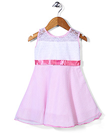 Babyhug Striped Embroidered Party Dress - White & Pink