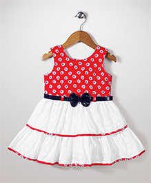 Babyhug Floral Printed & Embroidered Layered Frock - White & Red