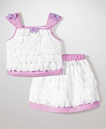 Babyhug Singlet Lace Layered Top & Skirt - White & Pink