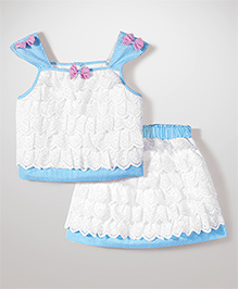 Babyhug Singlet Lace Layered Top & Skirt - White & Blue