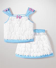 Babyhug Singlet Lace Layered Top & Skirt - White & Blue