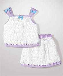 Babyhug Singlet Lace Layered Top & Skirt - White & Purple
