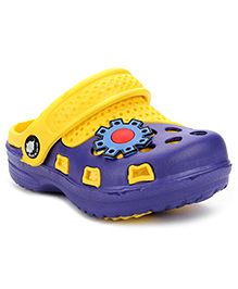 Cute Walk Clogs With Back Strap Patch - Yellow Blue