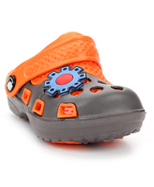Cute Walk Clogs With Back Strap Patch - Orange Grey