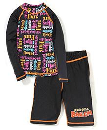 Chhota Bheem Swim T-Shirt & Trunk Set- Black