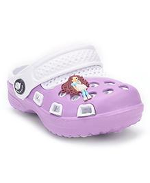 Cute Walk Clogs With Back Strap - Purple White