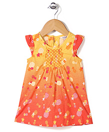 Beebay Cap Sleeves Frock Pineapple Print - Yellow Orange