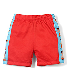Chhota Bheem Side Stripes Printed Swim Trunks Shorts - Red & Blue