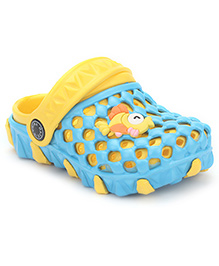 Cute Walk Clogs With Back Strap Fish Applique - Blue