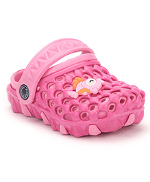 Cute Walk Clogs With Back Strap Fish Applique - Dark Pink