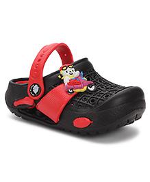 Cute Walk Baby Clogs Bike Applique - Black Red
