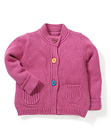 Mothercare Round Neck Knit Cardigan - Pink