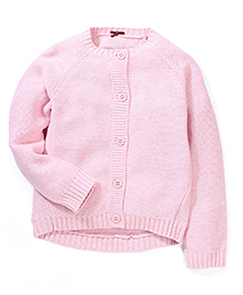 Mothercare Full Sleeves Drop Hem Cardigan - Rose Pink