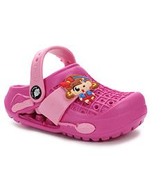 Cute Walk Baby Clogs Cartoon Applique - Pink