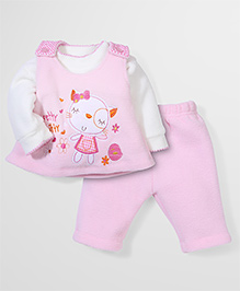 Babyhug Full Sleeves Three Pieces Set Embroidery - Pink